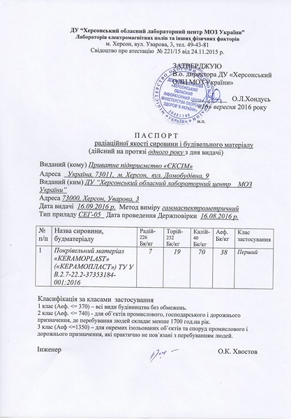 Паспорт радиационного качества сырья и строительного материала